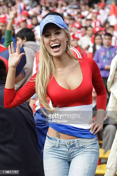 A supporter of Paraguay before the match between Brazil v Paraguay as part of Group B of Copa America 2011 at the Mario Kempes Stadium on July 09...