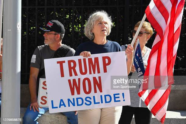 Supporter of President Trump holds a sign at a Stop The Steal rally in front of the Georgia State Capitol Building on November 28th, 2020 in Atlanta,...