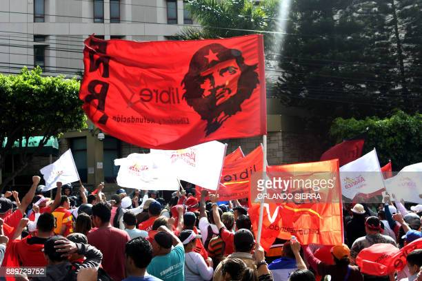 Supporter of presidential candidate for Honduras' Opposition Alliance against Dictatorship Salvador Nasralla demonstrate in front of the United...