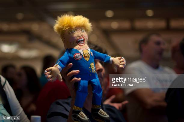 A supporter of Republican presidential candidate Donald Trump holds up a Trump doll during an election night party at a hotel in downtown Phoenix...
