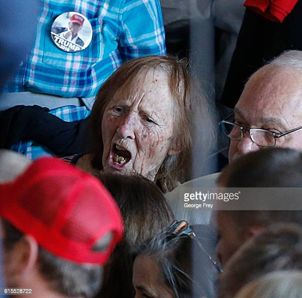 A supporter of Republican presidential candidate Donald Trump yells at a protester at a rally on October 18 2016 in Grand Junction Colorado Trump is...
