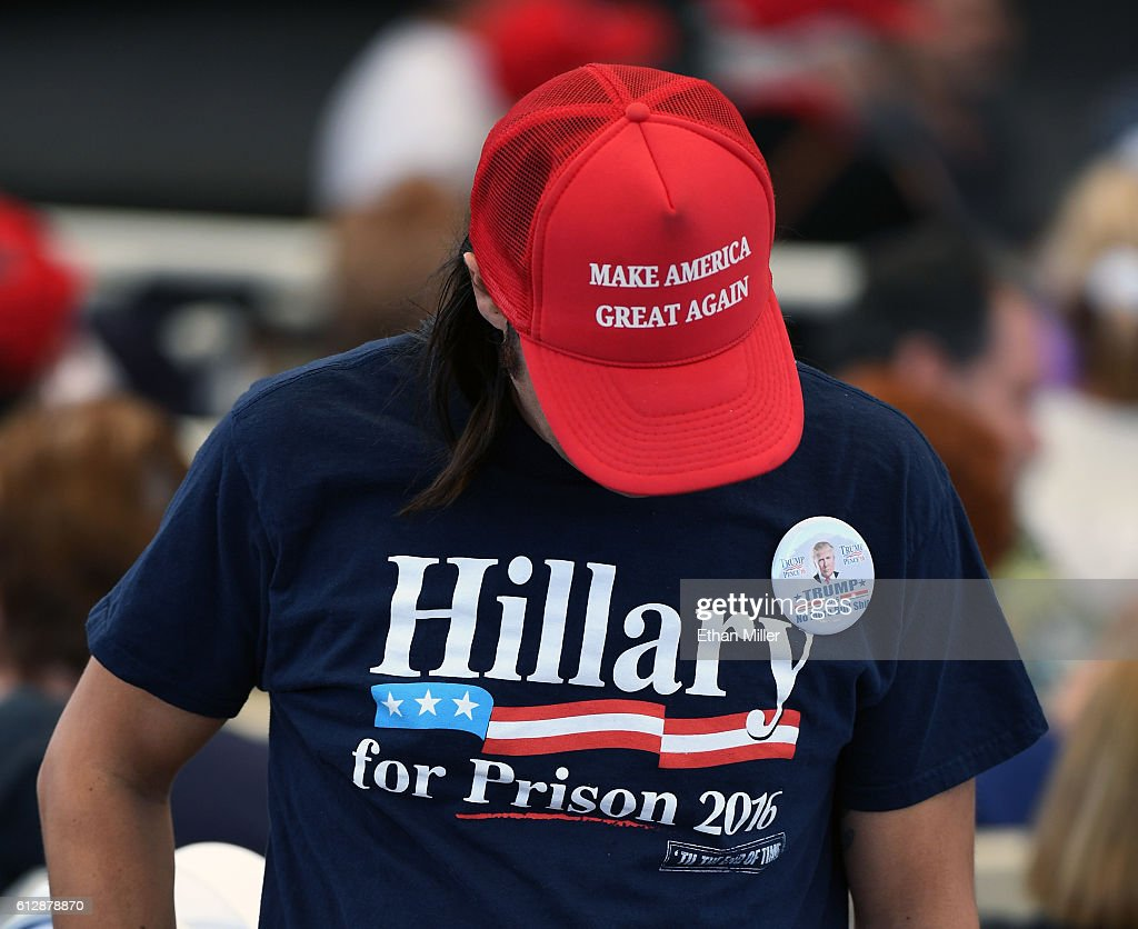 A supporter of Republican presidential nominee Donald Trump, attends a campaign rally at the Henderson Pavilion on October 5, 2016 in Henderson, Nevada. Trump is campaigning ahead of the second presidential debate coming up on October 9 with Democratic presidential nominee Hillary Clinton.