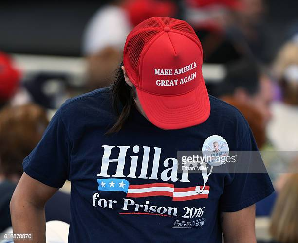 A supporter of Republican presidential nominee Donald Trump attends a campaign rally at the Henderson Pavilion on October 5 2016 in Henderson Nevada...