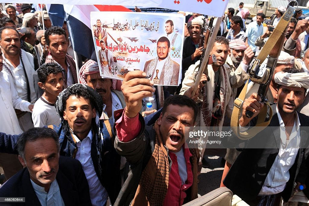 Saudi-led operations in Yemen protested in Ibb : News Photo