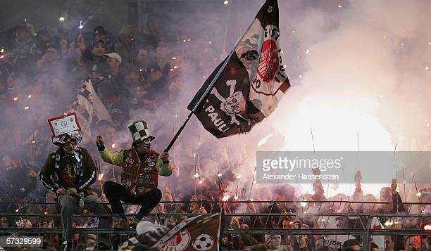 Supporter of St.Pauli look on during the DFB German Cup Semi Final match between FC St. Pauli and Bayern Munich at the Millerntor Stadium on April...
