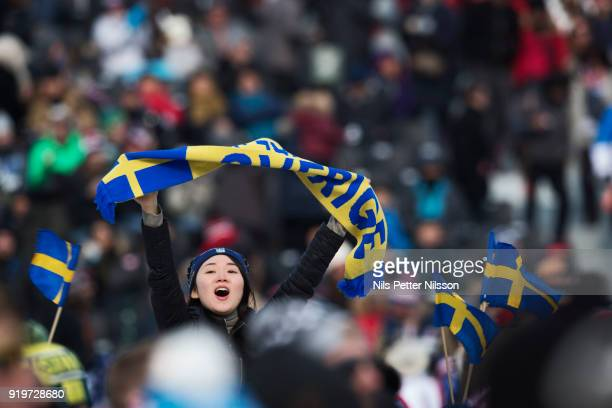 A supporter of Sweden during the Freestyle Skiing Men's slopestyle final on day nine of the PyeongChang 2018 Winter Olympic Games at Phoenix Snow...