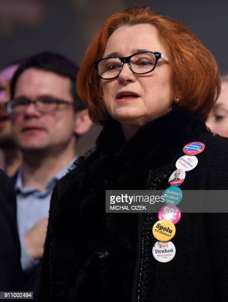 A supporter of the former head of the Czech Academy of Sciences and presidential candidate Jiri Drahos is pictured during a meeting with supporters...