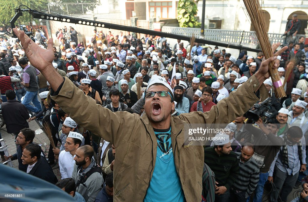 A Supporter Of The Indian Aam Aadmi Party Common Mans Party Holds