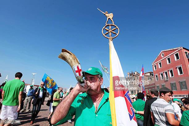 Supporter of the Northern League Party attends the Lega Nord Annual Party Rally on September 12, 2010 in Venice, Italy. The annual event is held to...