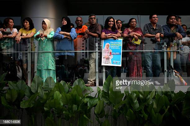 A supporter of the People's Justice Party holds a poster of Nurul Izzah daughter of opposition leader Anwar Ibrahim and a member of parliament Lembah...