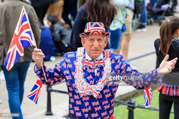 A supporter of the Royals attends the celebration of the Queen's birthday called Trooping The Colour on June 9 2018 in London England