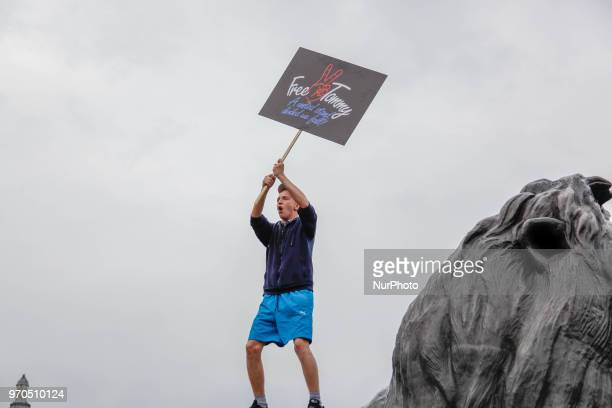 A supporter of Tommy Robinson at Nelon's Column during a 'Free Tommy Robinson' protest on Whitehall on June 9 2018 in London England After the...