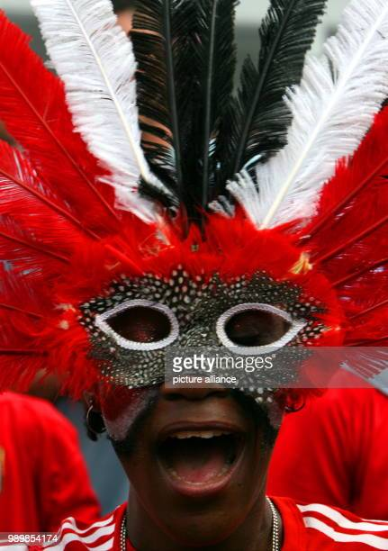 A supporter of Trinidad and Tobago before the group B match of the 2006 FIFA World Cup between England and Trinidad and Tobago in Nuremberg Germany...