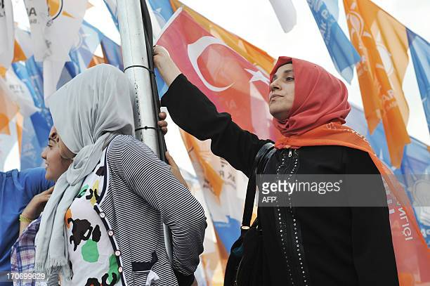 A supporter of Turkish Prime Minister Recep Tayyip Erdogan holds a Turkish flag during a rally on June 16 in Istanbul Turkish Prime Minister Recep...