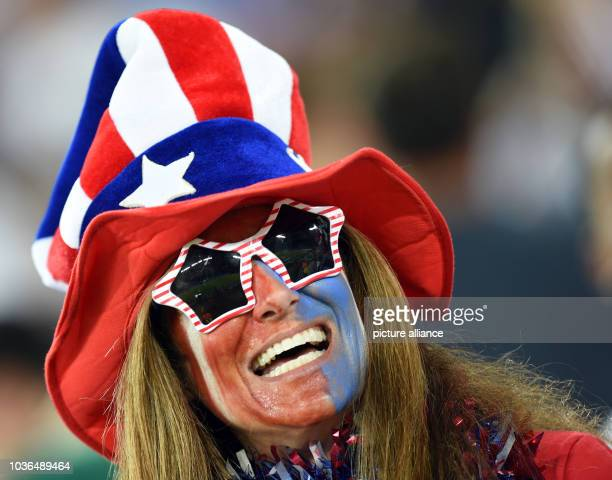Supporter of USA cheers in the stands prior to the FIFA World Cup 2014 group G preliminary round match between Ghana and the USA at the Estadio Arena...