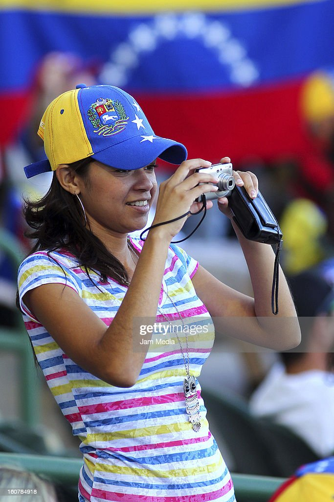 Supporter of Venezuela takes a picture during a match between Puerto Rico and Venezuela as part of the Caribbean Series 2013 at Sonora Stadium on February 05, 2013 in Hermosillo, Mexico.