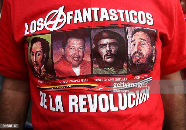 A supporter of Venezuelan President Hugo Chavez wears a tshirt modeled after the Fantastic 4 comic book series reading 'The fantastic four of the...