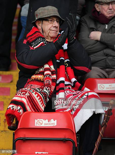 A supporter of Walsall during the Sky Bet League One match between Walsall and Wigan Athletic at Bescot Stadium on February 20 2016 in Walsall England