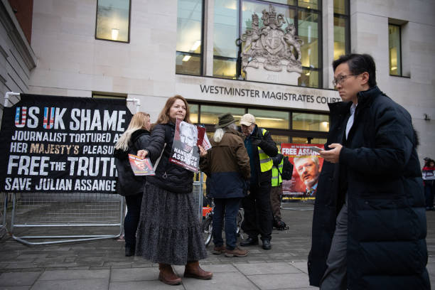 GBR: Protestors At Court Supporting Julian Assange