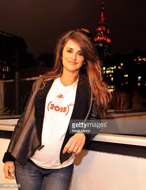 supporter Penelope Cruz lit the Empire State Building on World AIDS Day to help launch 's new awareness campaign 'An AIDS Free Generation is Due in...