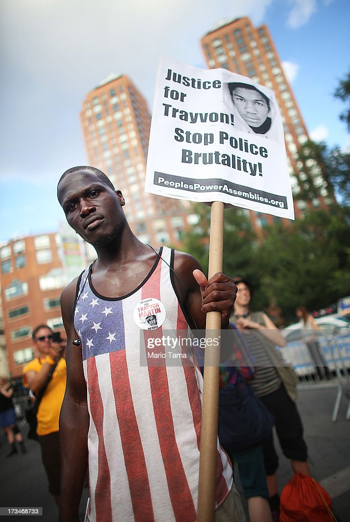 Supporter Sam Saylee poses at a rally honoring Trayvon Martin at Union Square in Manhattan on July 14, 2013 in New York City. George Zimmerman was acquitted of all charges in the shooting death of Martin July 13 and many protesters questioned the verdict.