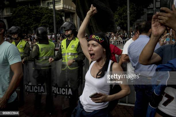 A supporter shouts slogans as Gustavo Petro presidential candidate for the Progressivists Movement Party holds a campaign rally in Pereira Colombia...
