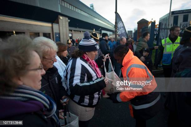 Supporter undergoes a bag search outside the fanzone before West Bromwich Albion take on Leeds United in a SkyBet Championship fixture at the...