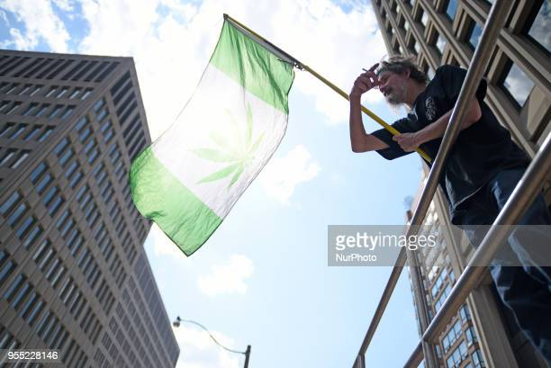 A supporter waiving a flag identical with the Canadian flag but replaced by Marijuana leaves during the Toronto Global Marijuana march 2018 just a...