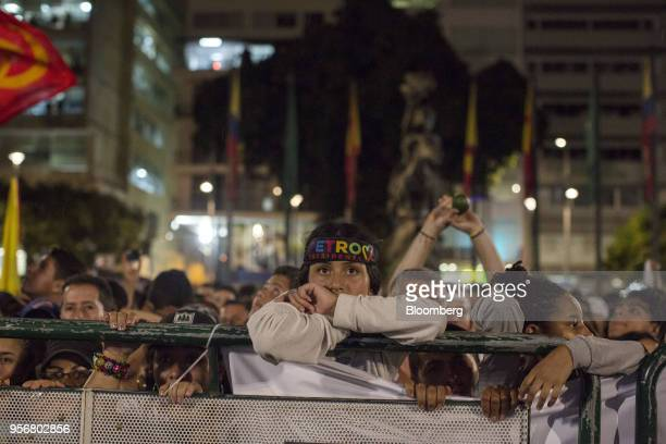 A supporter wears a campaign headband as Gustavo Petro presidential candidate for the Progressivists Movement Party holds a rally in Pereira Colombia...