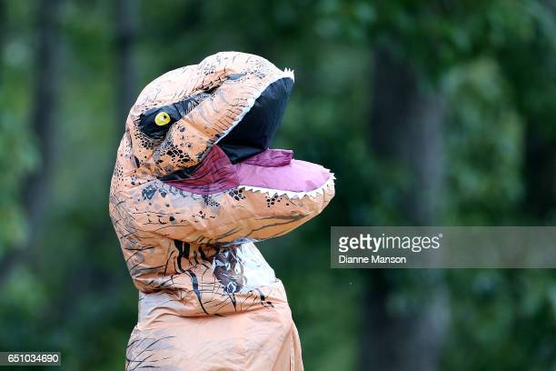 A supporter wears a dinosaur costume during day three of the First Test match between New Zealand and South Africa at University Oval on March 10...