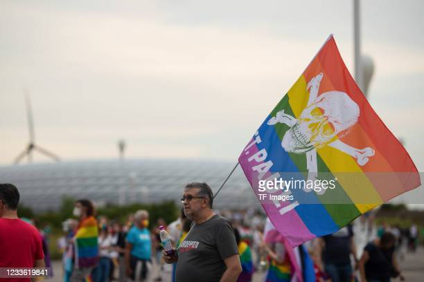 Supporter with Pride Flag of St. Pauli prior to the UEFA Euro 2020 Championship Group F match between Germany and Hungary at Football Arena Munich on...