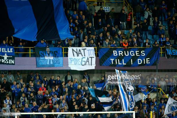 supporters action during the Jupiler Pro League match between Club Brugge and KSC Lokeren OV at the Jan Breydel stadium on September 14 2018 in...