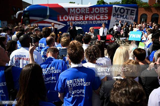 Supporters and Britain's Prime Minister David Cameron Liberal Democrat Leader Tim Farron and Labour MP Harriet Harman listen to Green Party leader...