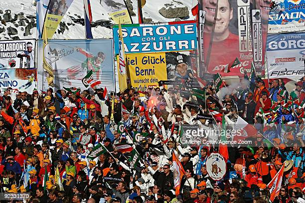 Supporters and fan clubs at the Alpine FIS Ski World Cup Men's Giant Slalom on October 25 2009 in Solden Austria