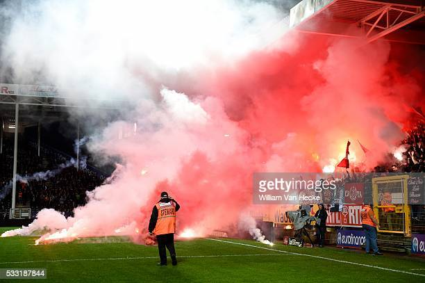 Supporters and Fans during the Jupiler Pro League match between RCSC Charleroi and Standard de Liège in Charleroi Belgium