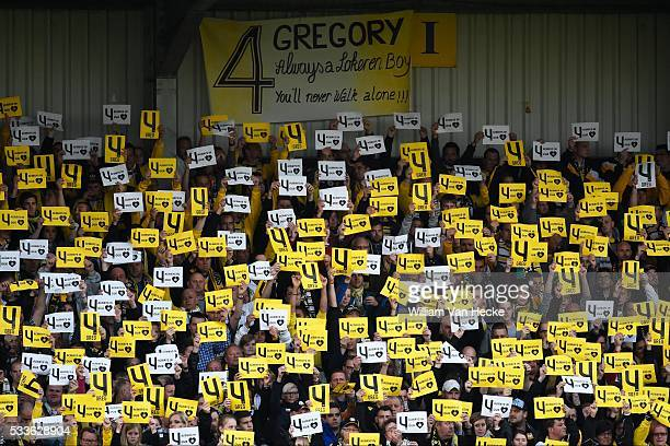 Supporters and Fans in memory & honour of Mertens Gregory defender of Sporting Lokeren during the Jupiler Pro League play off 2 match between KVC...