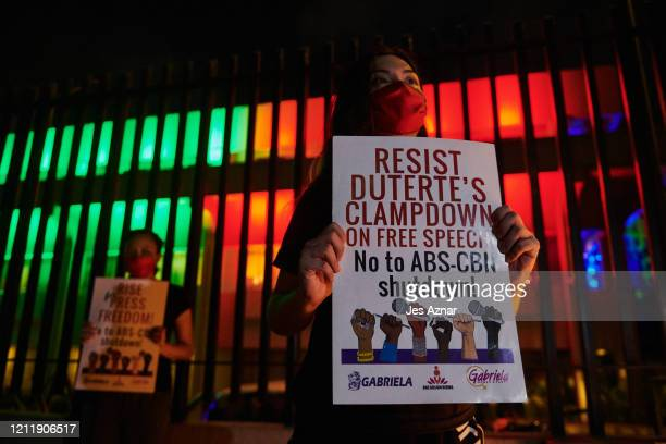 Supporters and other media persons gather in fron of ABS-CBNs main office on May 5, 2020 in Manila, Philippines. The Philippine government shuts down...