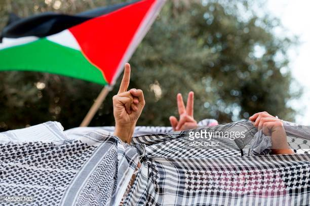 Supporters and relatives of the six Israeli Arab citizens jailed by an Israeli court on November 28 2013 for killing a farright soldier in 2005...