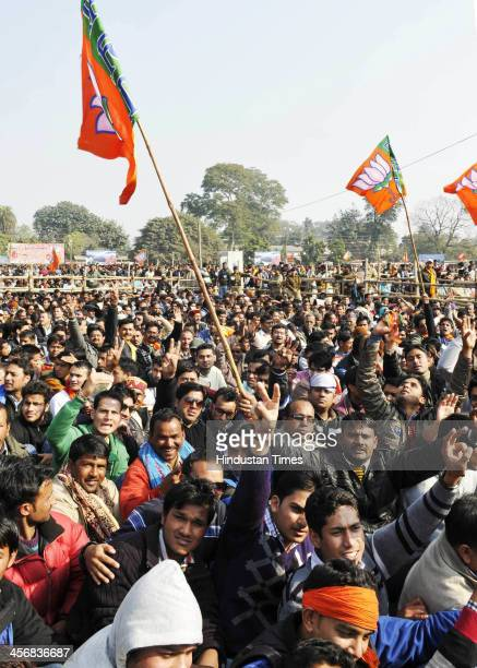 BJP supporters and workers during the Narendra Modi's Shankhnaad Rally on December 15 2013 in Dehradun India During the rally Modi asked the people...