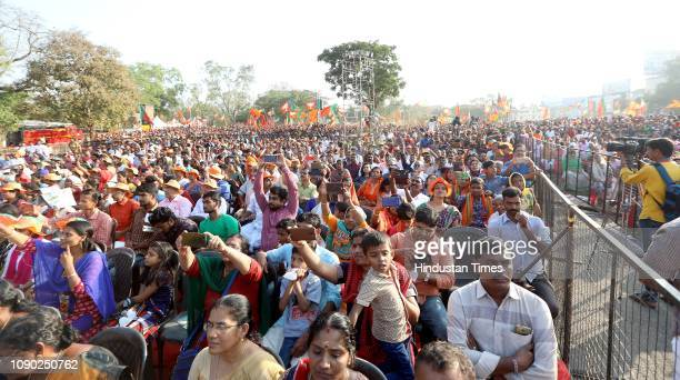 BJP supporters and workers during the Yuva Morcha meet at Thekkinkad Maidanam on January 27 2019 in Thrissur India Modi said the Congress and the...