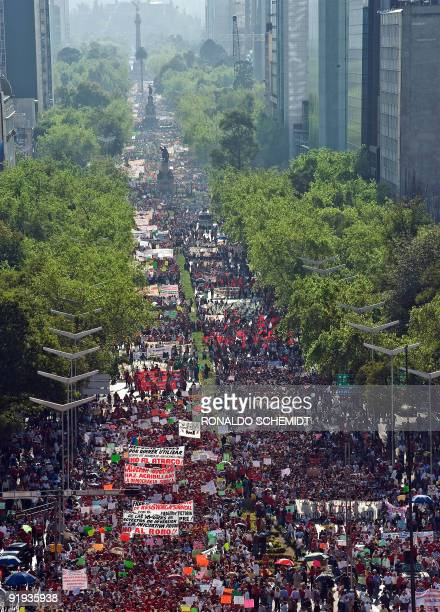 Supporters and workers from Luz y Fuerza del Centro the company that supplies power to the capital city stage a protest along Reforma avenue in...