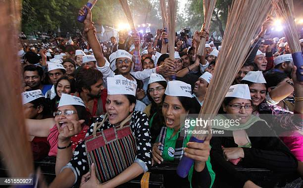 Supporters and workers of Aam Admi Party during the concert 'Rock The Ballot' in support of Aam Aadmi Party at Jantar Mantar on November 23 2013 in...