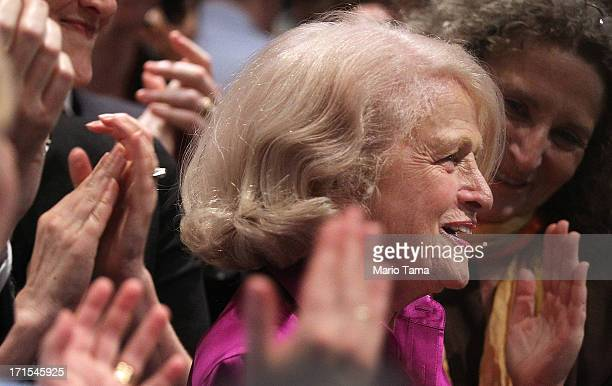 Supporters applaud Defense of Marriage Act plaintiff Edith Edie Windsor at a press conference in Manhattan following the US Supreme Court ruling on...