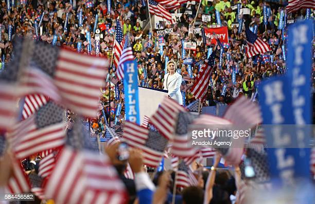 Supporters are seen at congress hall during a speech of the nominee of the Democratic Party for President of the United States Hillary Clinton ahead...