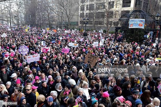 Supporters are seen during the 2017 Women's March Sister March in New York on January 21 2017 in New York City