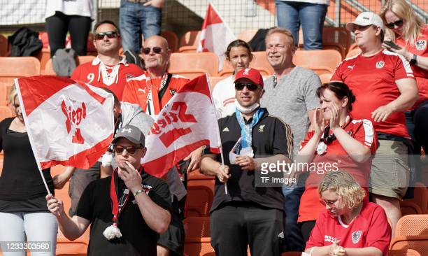 Supporters are seen during the international friendly match between Austria and Slovakia at Happel Stadium on June 6, 2021 in Vienna, Austria.