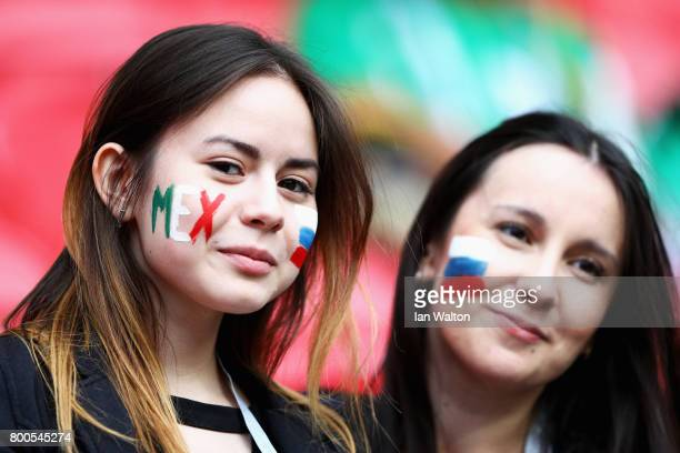 Supporters are seen prior to the FIFA Confederations Cup Russia 2017 Group A match between Mexico and Russia at Kazan Arena on June 24 2017 in Kazan...