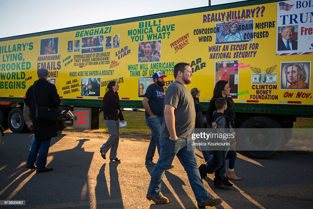 Supporters arrive at a campaign rally for Republican presidential nominee Donald Trump on October 10, 2016 in Wilkes-Barre, Pennsylvania. Trump continues his campaign following a town hall style debate against the Democratic nominee Hillary Clinton at Washington University in St. Louis last night.