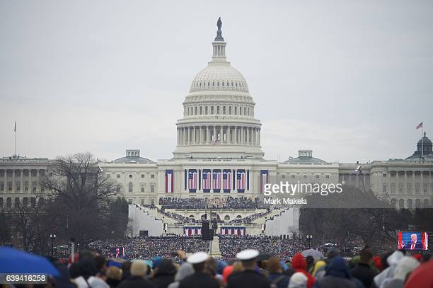 Supporters arrive before the inauguration of Donald Trump being sworn in as the 45th President of the United States in front of the U.S. Capitol...