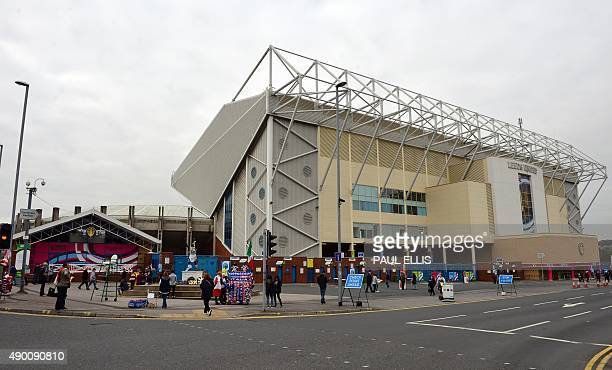Supporters arrive outside the stadium ahead of the Pool D match of the 2015 Rugby World Cup between Italy and Canada at Elland Road in Leeds north...